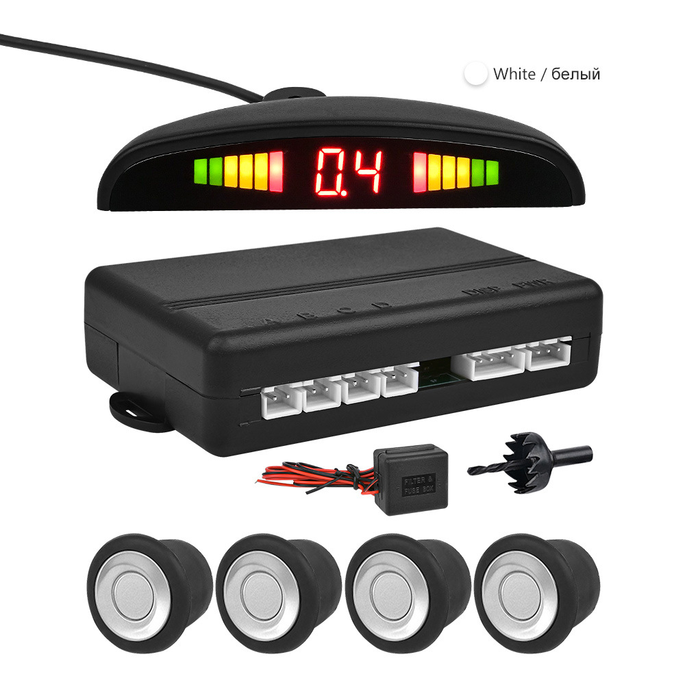 Vehicle-mounted 24V reversing radar Small crescent LED display for obstacles reporting distance 15 m