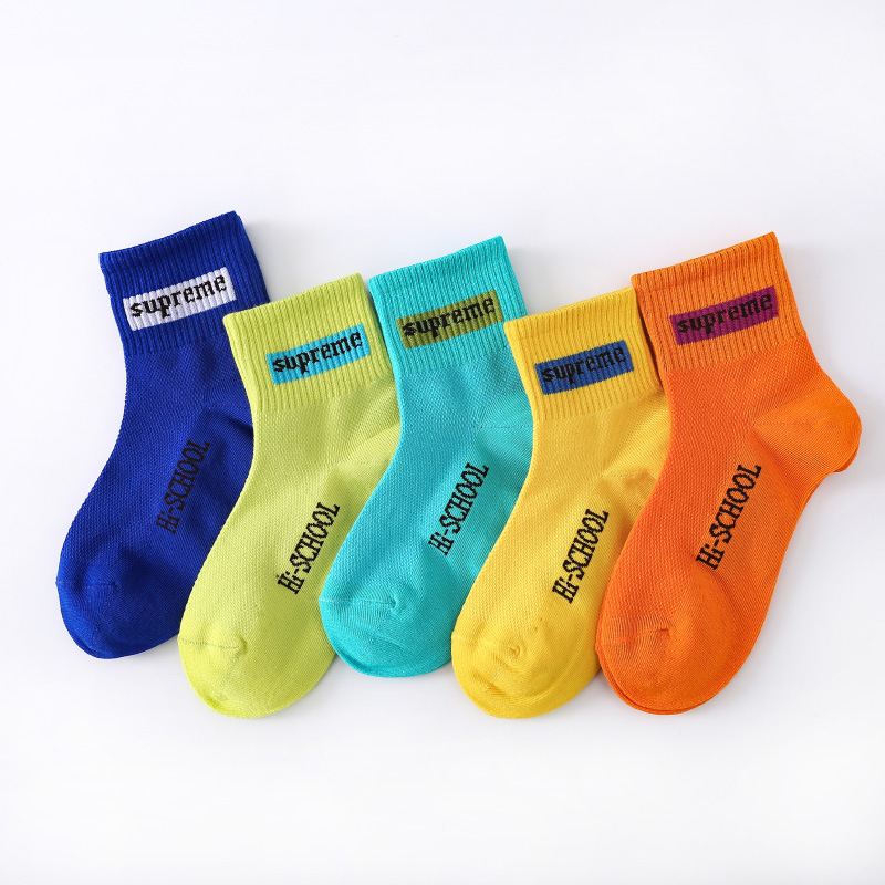 2021 spring and summer new children's socks combed cotton sports tide socks letter in tube male and