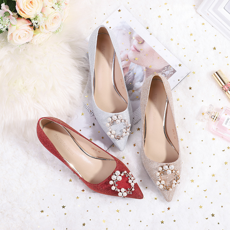 Fuhao women's shoes 2019 new bride show shoes wedding shoes pointed red high heels female stiletto