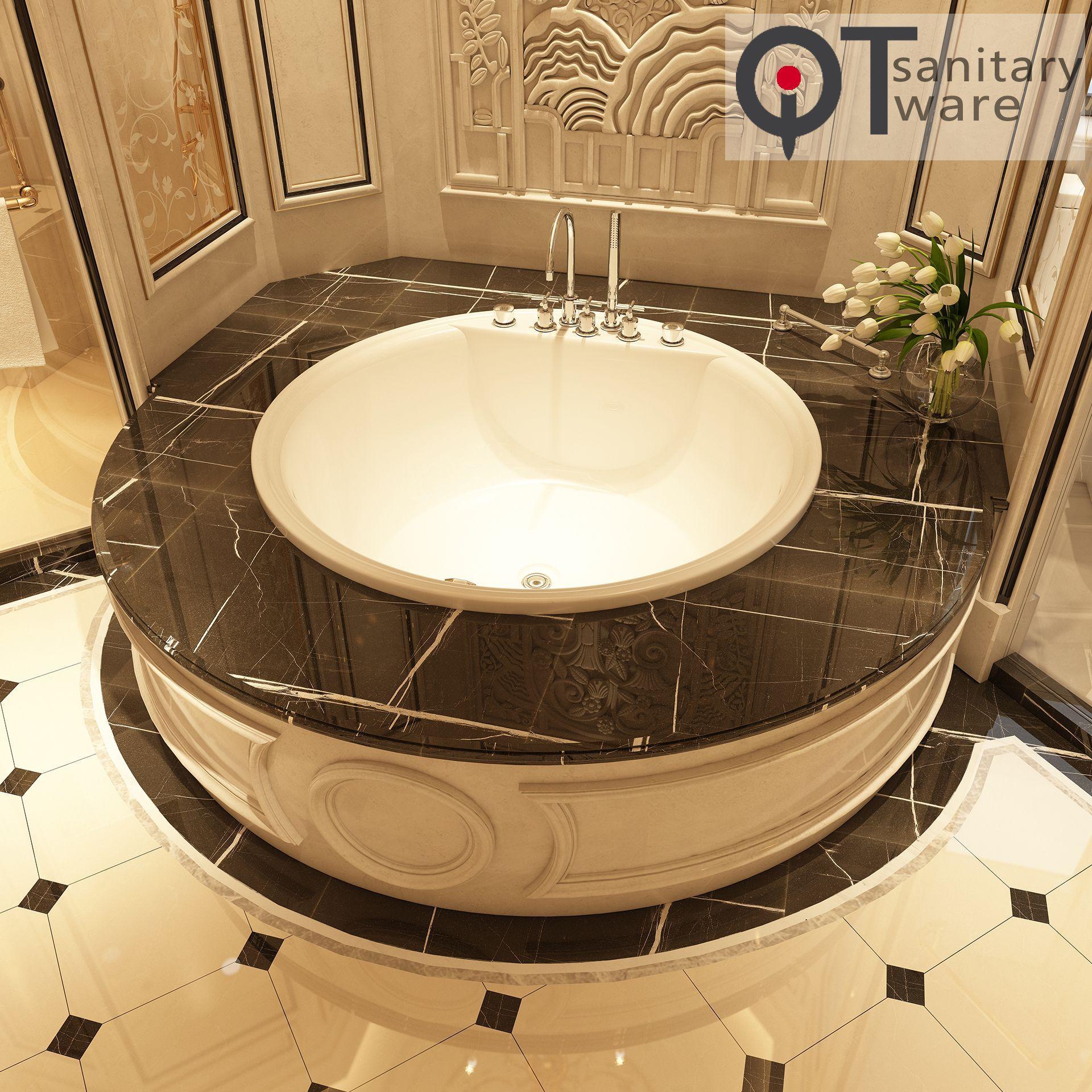 Home hotel traditional round acrylic built-in bathtub QT-6012Q
