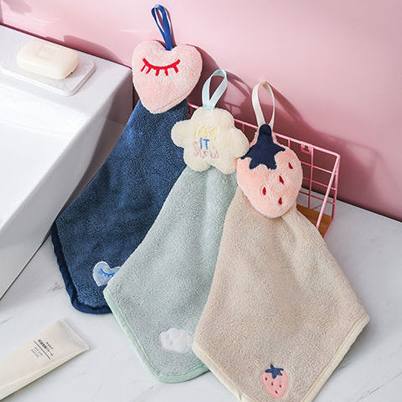 FEITU Cartoon cute hand towels bathroom kitchen household hanging rags absorbent thickened children\