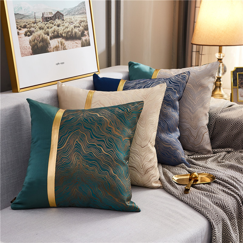 Modern light luxury model room pillow velvet bronzing cushion sofa bedroom waist pillow American met
