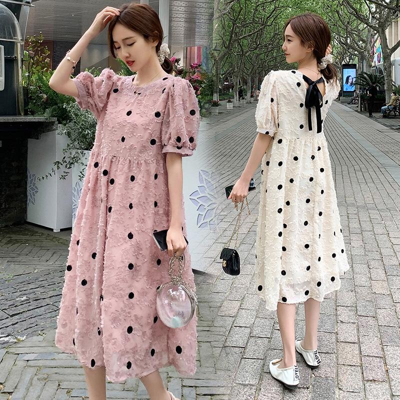 2021 Summer New Maternity Dress Loose Long Section Small Fresh Polka Dot Back Bowknot Maternity Dres