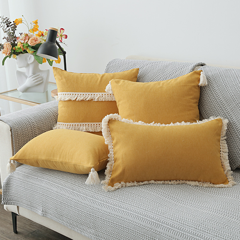 XUANYING Nordic cotton linen tassel pillowcase American pastoral small fresh sofa cushion linen pill