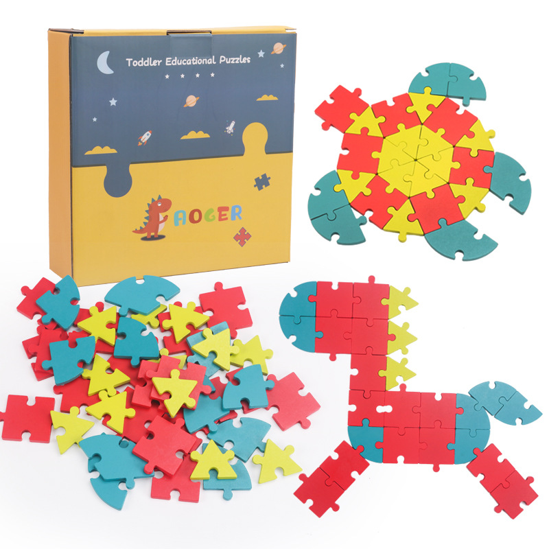 New product children's wooden creative puzzle 3-6 years old traffic animal number letter puzzle puz