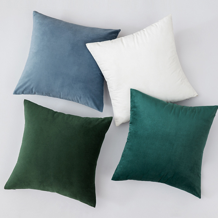 Velvet Throw Pillow Sofa Cushion Solid Color Bedside Backrest Home Furnishing Fabric Living Room Plu