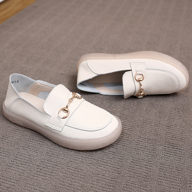 SANZHIYANG Three sheep spring 2021 new loafers women wild women's shoes soft leather white shoes so
