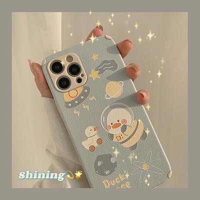 TAXIA bao da điện thoại Space Duck Apple Phone Case 12Pro max Lambskin iPhone11 Cover XS Sticker XR