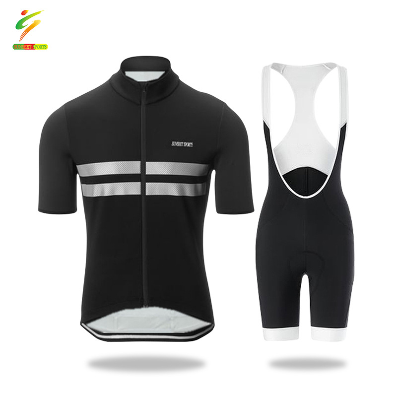 SUNSEET SPORTS Summer men's cycling jersey suit, short-sleeved shirt, suspenders, cushion shorts, q