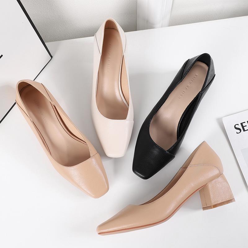 Fuhao square toe single shoes women summer thick heel high heels women summer 2021 new microfiber le