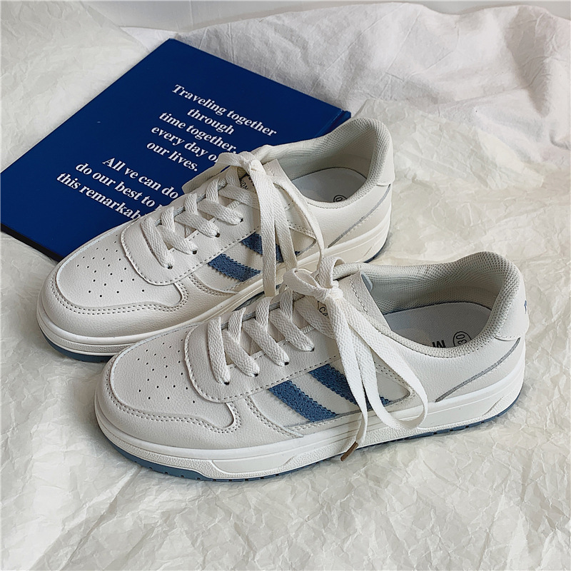 2021 spring sports women's shoes low-top flat-heeled round toe breathable white shoes female new ca