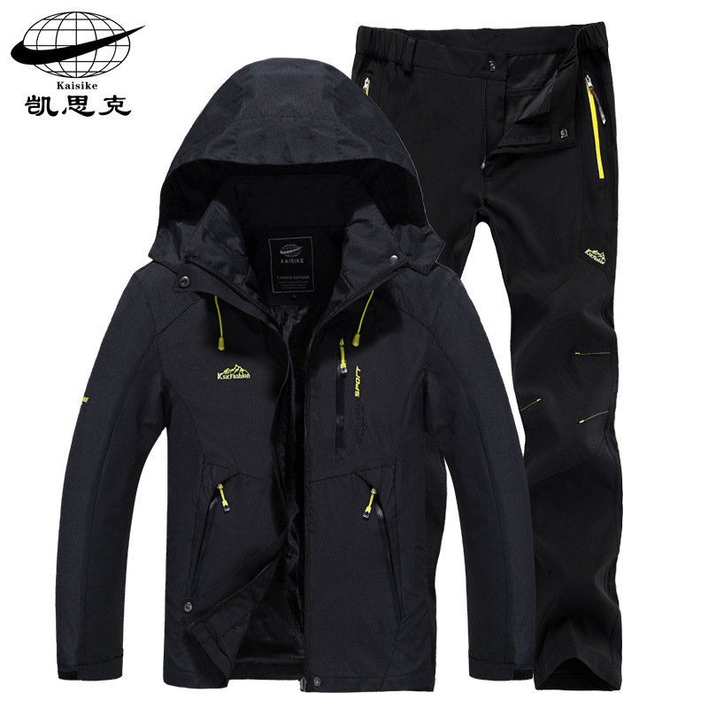Spring and autumn thin jacket and pants suit men's outdoor sports single-layer water-repellent moun