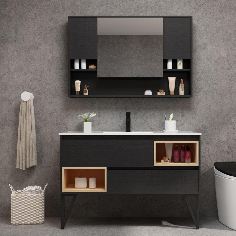 Bộ chậu rửa tay lavabo kết hợp gương treo tường sang trọng hiện đại .