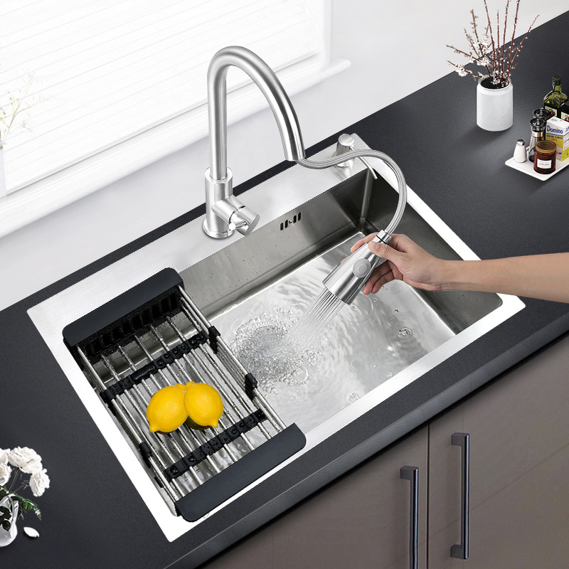 304 stainless steel hand-made sink, large single-bowl kitchen sink, large single-bowl sink, single-b