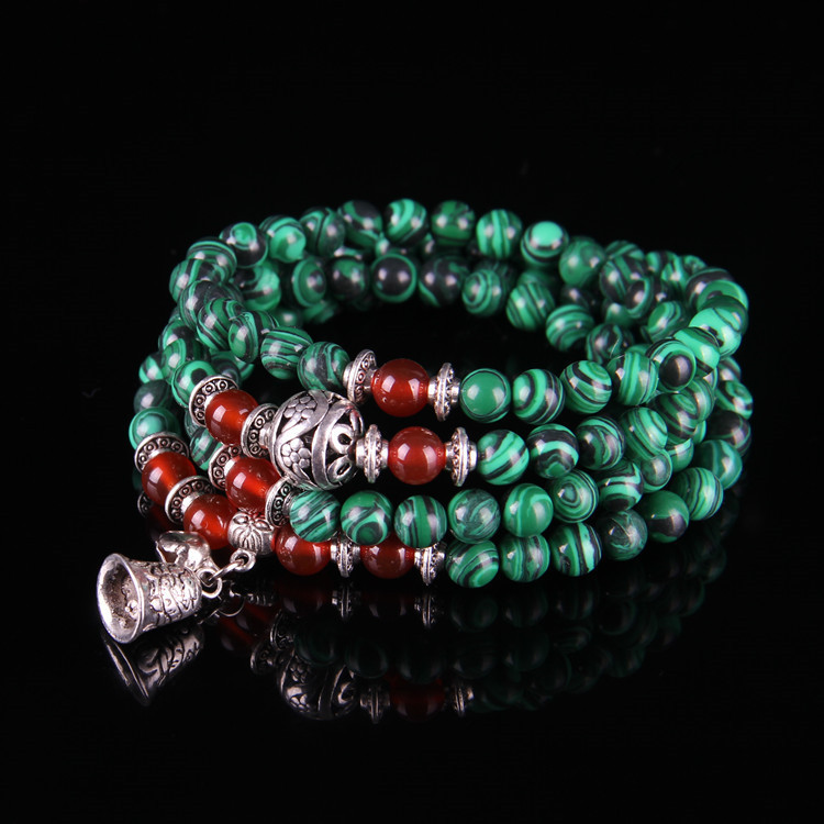 Synthetic phoenix stone Buddhist bracelet 108 beads with red agate beads Ming Wang beads bracelet