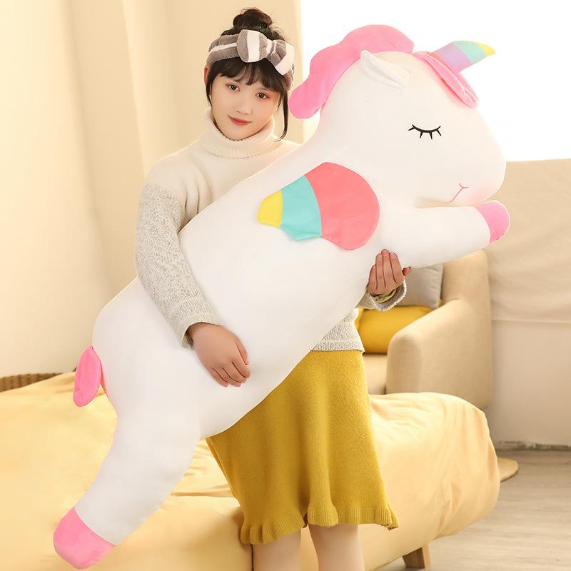 Cute unicorn doll plush toy girl super cute doll sleeping pillow girl bed super soft gift