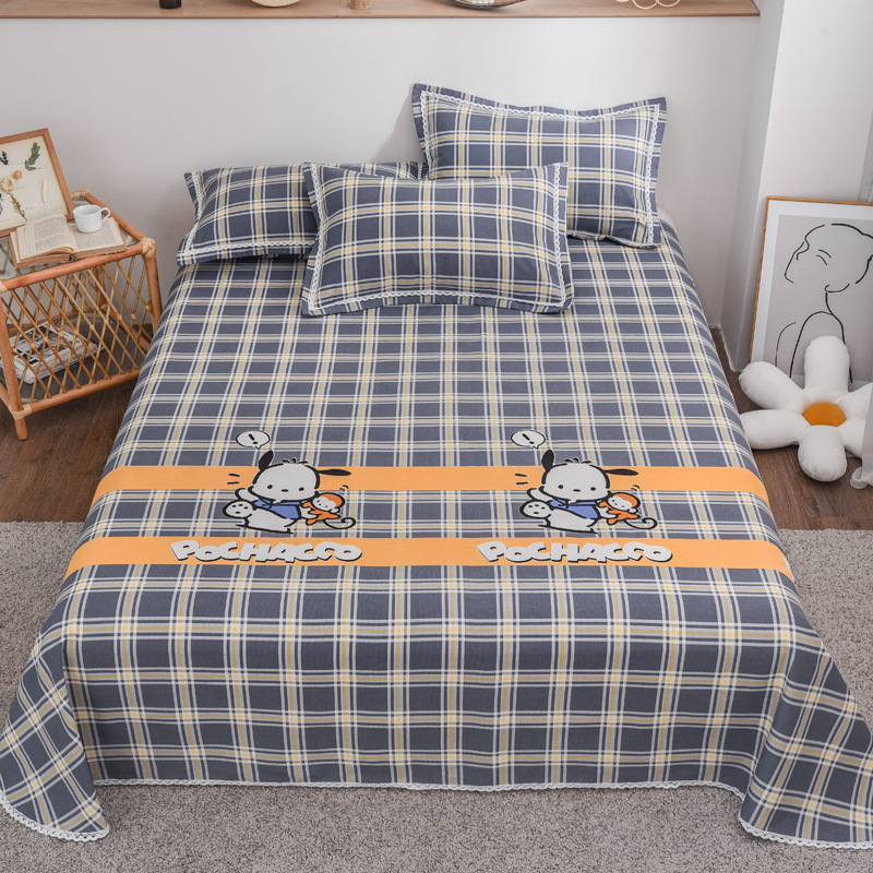 Three-piece set of pure cotton edge printed old coarse cloth, mat set, bed linen, pillowcase, beddin