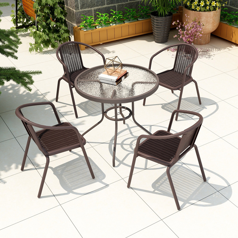 Outdoor table and chair outdoor rattan chair leisure folding furniture garden courtyard wrought iron