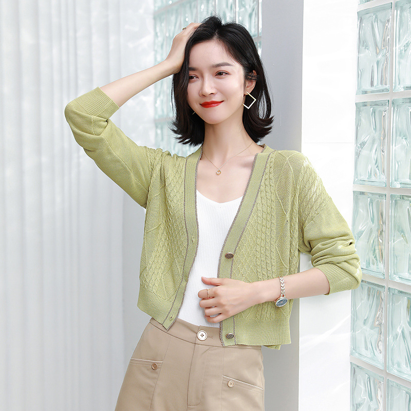 Exerion 2021 spring new net red sweater knit sweater short cardigan women's retro twist loose coat
