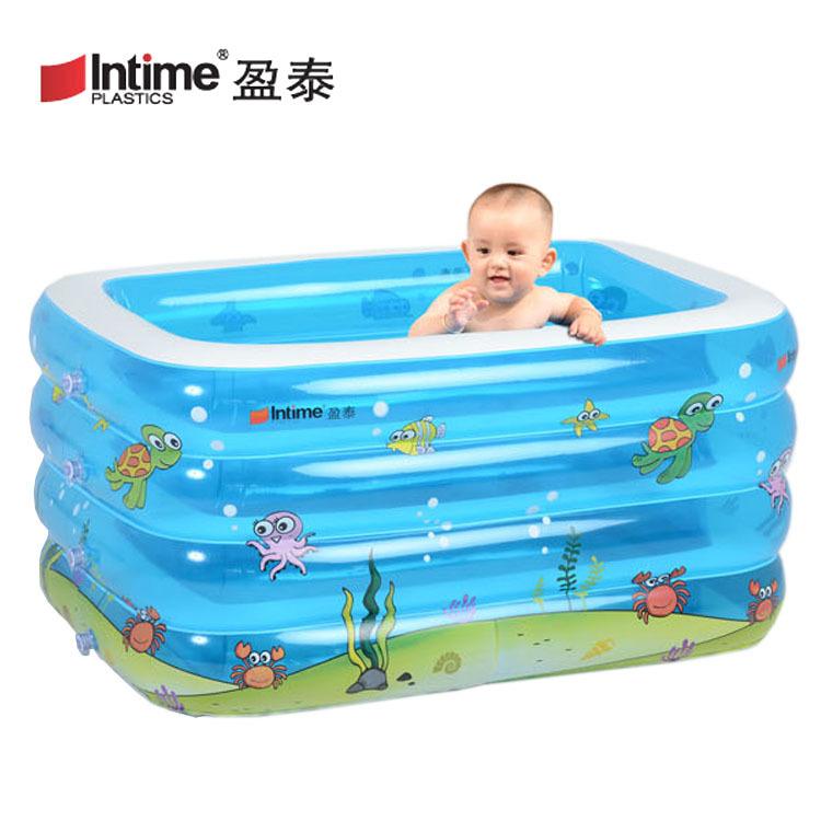 INTIME Yingtai Large Thickened Four-ring Rectangular Baby Children's Swimming Pool Paddling Pool Ba