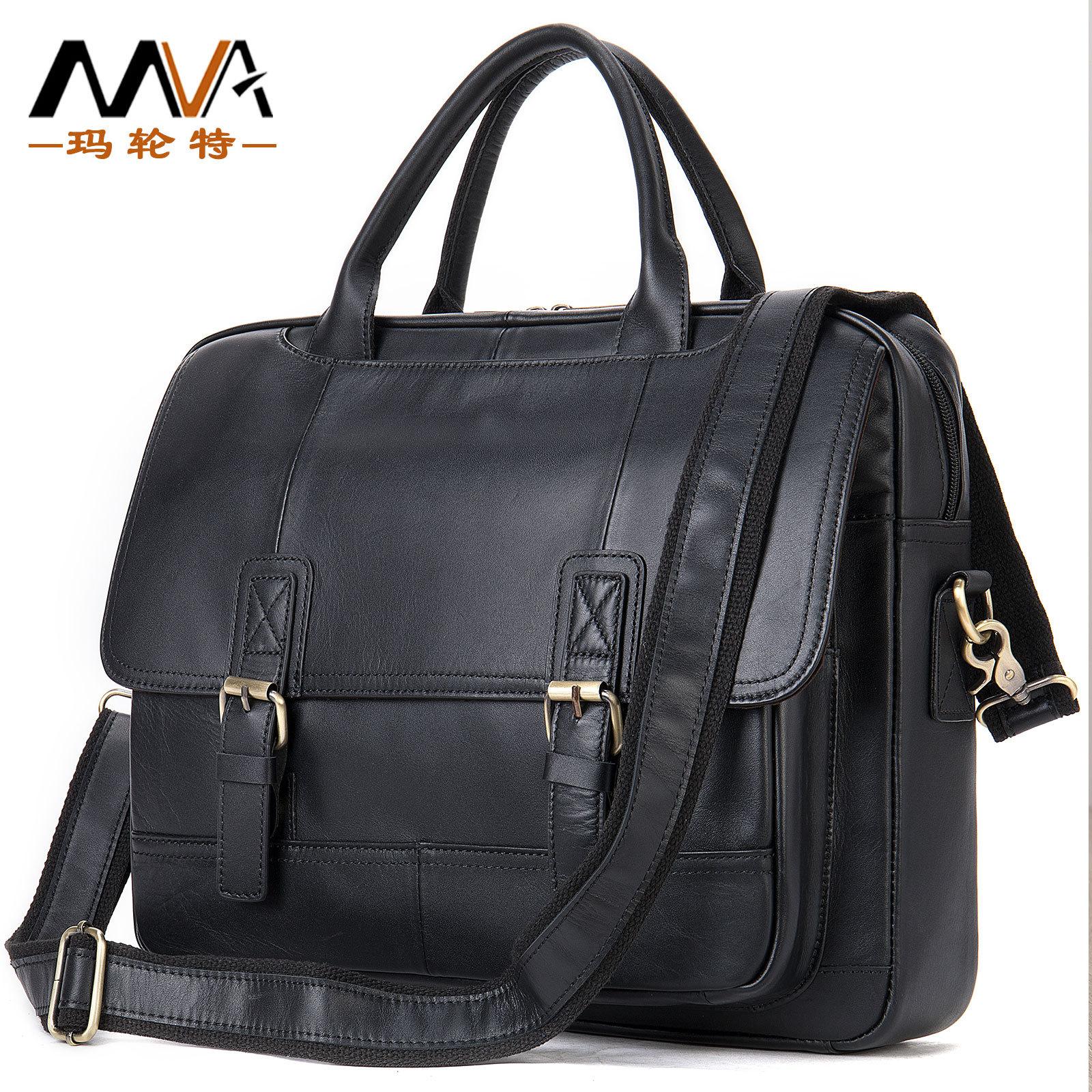 MVA Leather casual business briefcase men's shoulder messenger handbag horizontal