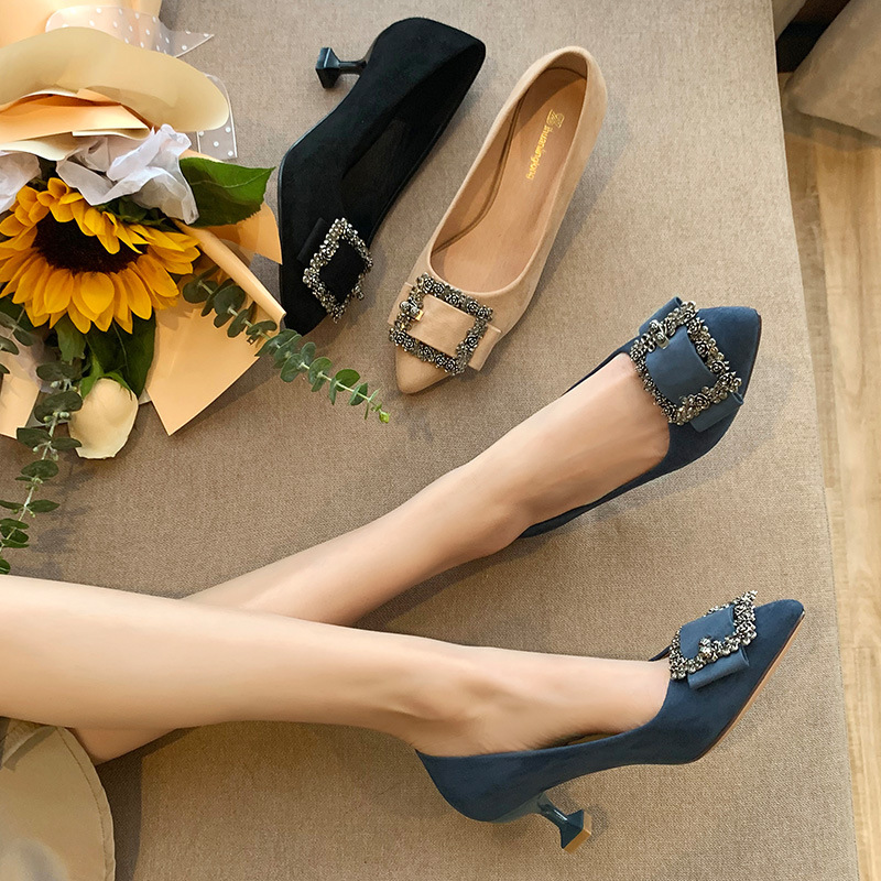 Widened fat feet large size women's shoes 41-43 single shoes pointed toe shallow French high heels