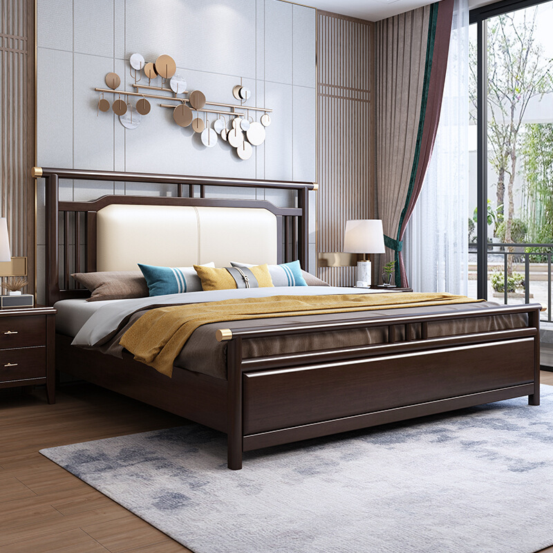 New Chinese style solid wood bed 1.8m light luxury soft package soft backing double wedding bed 1.5M