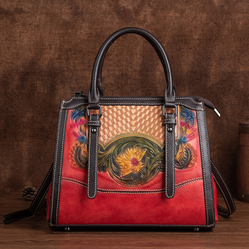 Ethnic style handbags 2021 new embossed fashion atmospheric handbags rubbed color first layer cowhid