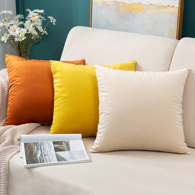 WEIXIN Nordic simple solid color velvet pillow cushion sofa cushion plush