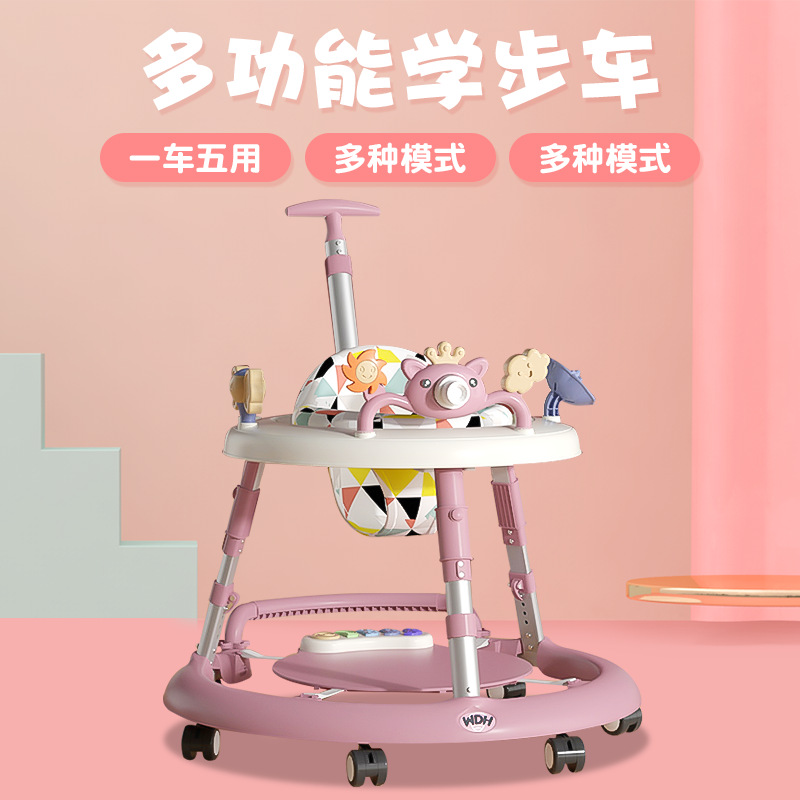New baby walker anti-rollover male and female babies can sit on human walkers push music without ped