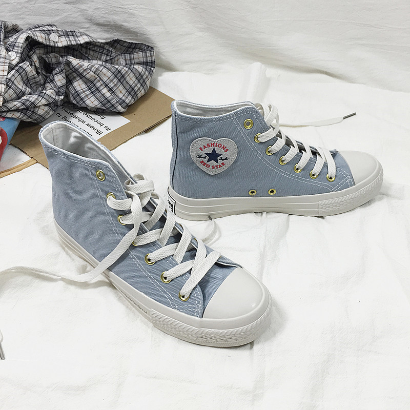 Yuanbo high-top canvas shoes female 2019 spring classic board shoes student chic Korean smog blue cl
