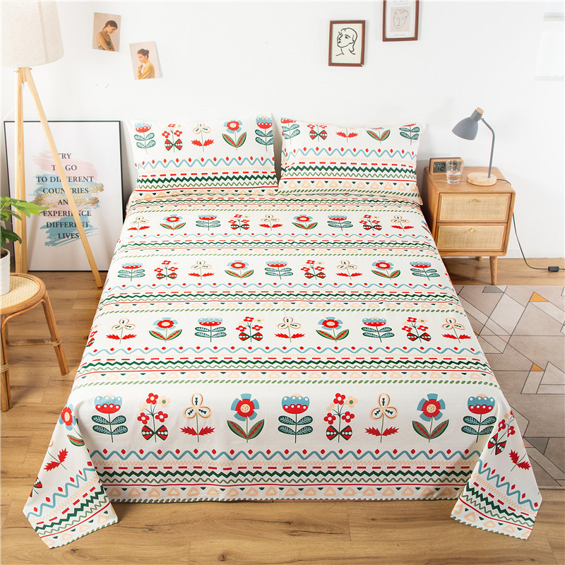 Pure cotton old coarse cloth bed sheet three-piece set simple cotton student single coarse cloth bed