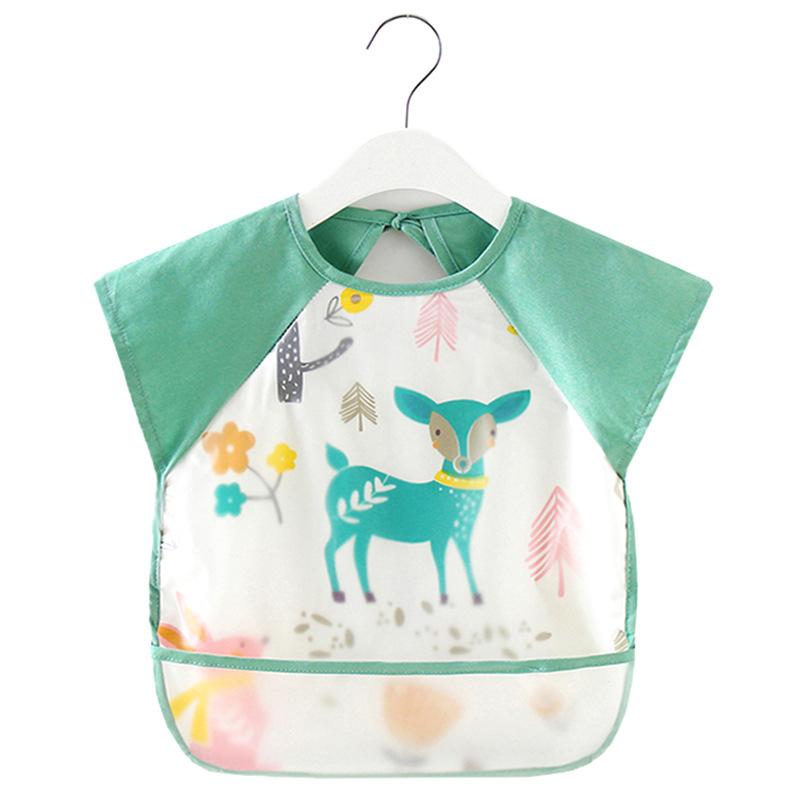 Summer children's overalls cotton sleeveless waterproof bib baby meal pocket thin baby eating apron