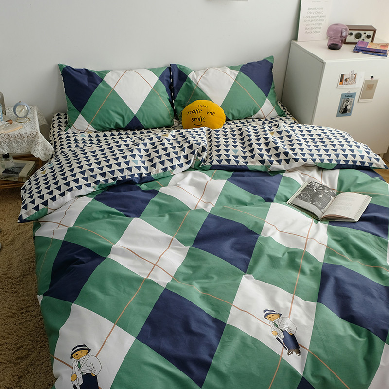 MUMIAN ins style Nordic simple four-piece cotton and cotton cute bear duvet cover bed sheet three-pi