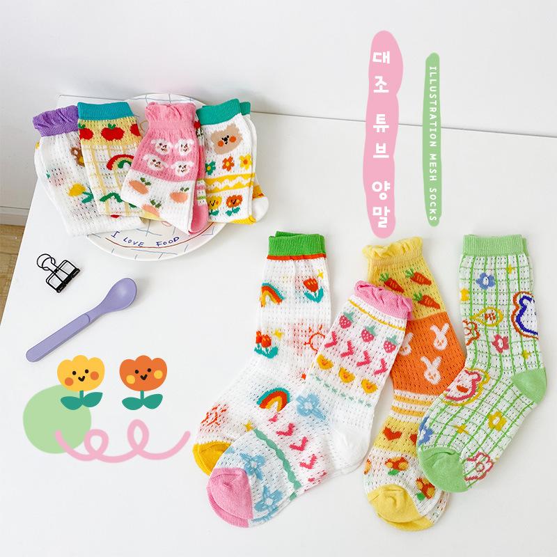 2021 summer new children's socks baby Korean cartoon illustration thin socks bubble mouth mesh sock