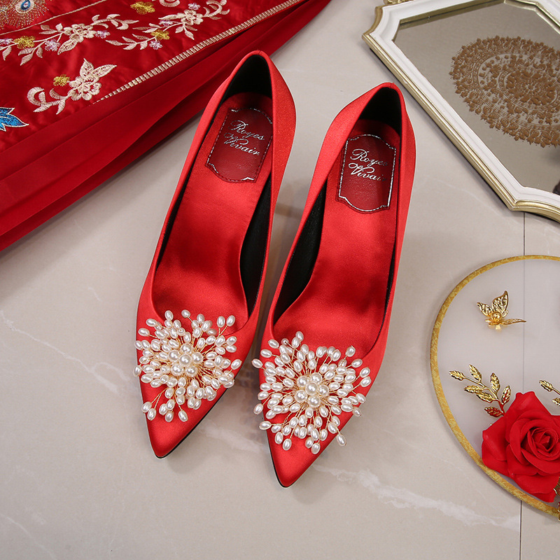 Red wedding shoes high heels 2021 spring and summer new season single shoes large size pointed toe s