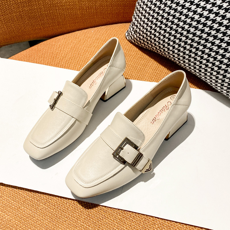 Korean version of the square toe temperament thick heel single shoes women 2021 new mid-heel loafers