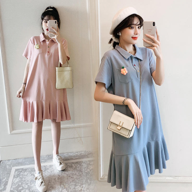 Net red maternity dress POLO shirt dress Korean version of the long section thin maternity dress cot