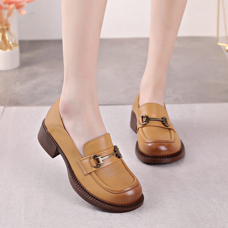 Loafers women's 2021 spring leather shoes leather British style mid-heel platform shoes flat soft l