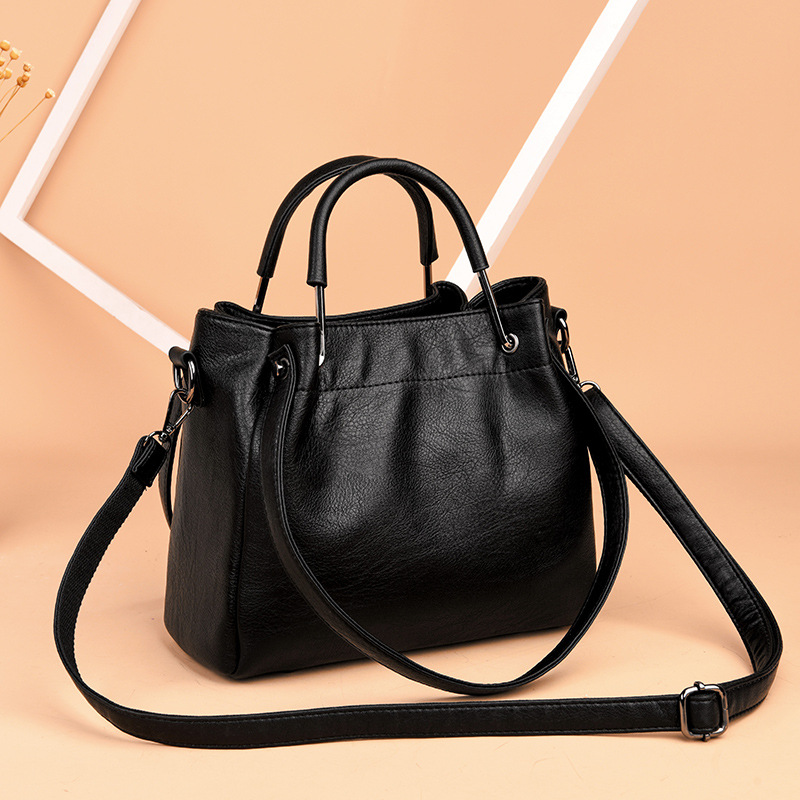 Women's bag 2021 new Korean fashion women's bag soft leather retro bucket bag handbag