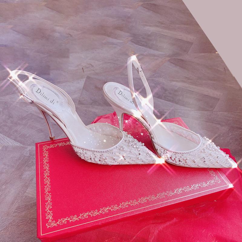 Stiletto toe sandals women 2021 new summer fashion rhinestone pointed high heel fairy style pearl la