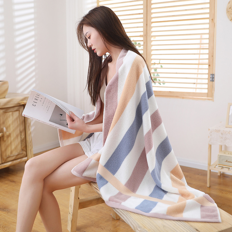 Thicken and increase adult bath towel 32 strands of pure cotton color strip bath towel 80*160 large