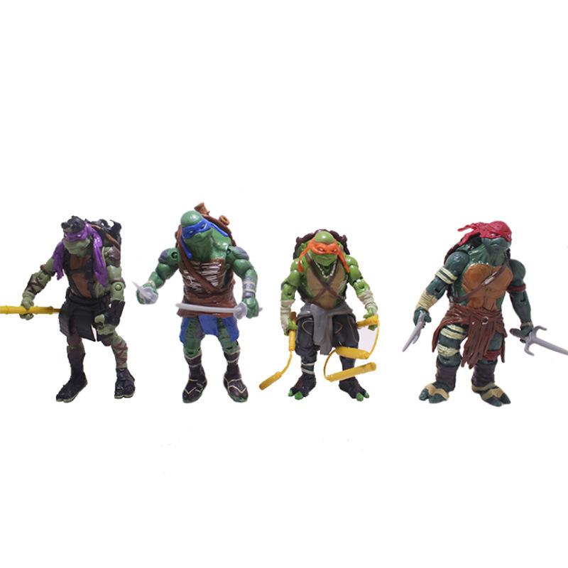 Classic anime movie version Teenage Mutant Ninja Turtles full set of 4 articulated doll toys