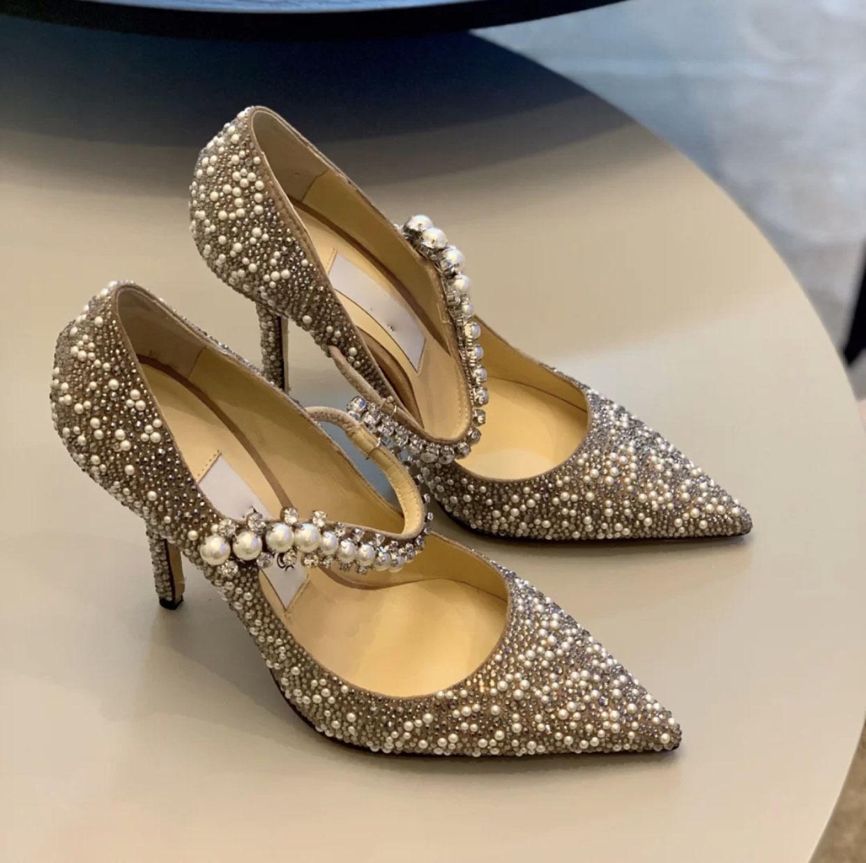 jc rhinestone pearl high heels female stiletto crystal princess wedding shoes bridal shoes pointed w
