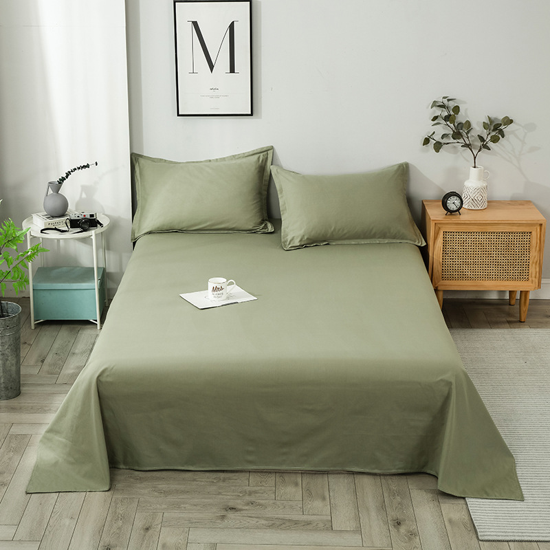Nordic Pure Cotton Sheets Reactive Printing and Dyeing Pure Color Sheets Hotel Dormitory Sheets