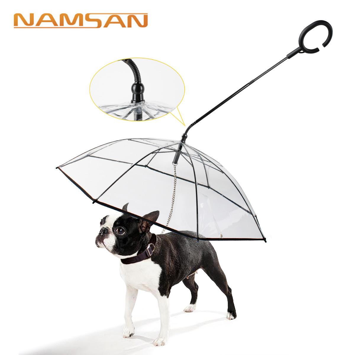 Namsan Transparent Pet Umbrella Dog C-shaped Umbrella Pet Products Factory Direct Sales Adjustable L
