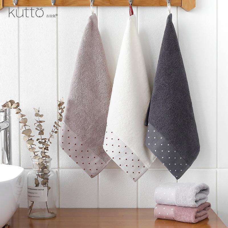 KUTTO Gutian Rabbit plain simple broken file polka dot small square towel wholesale absorbent soft c