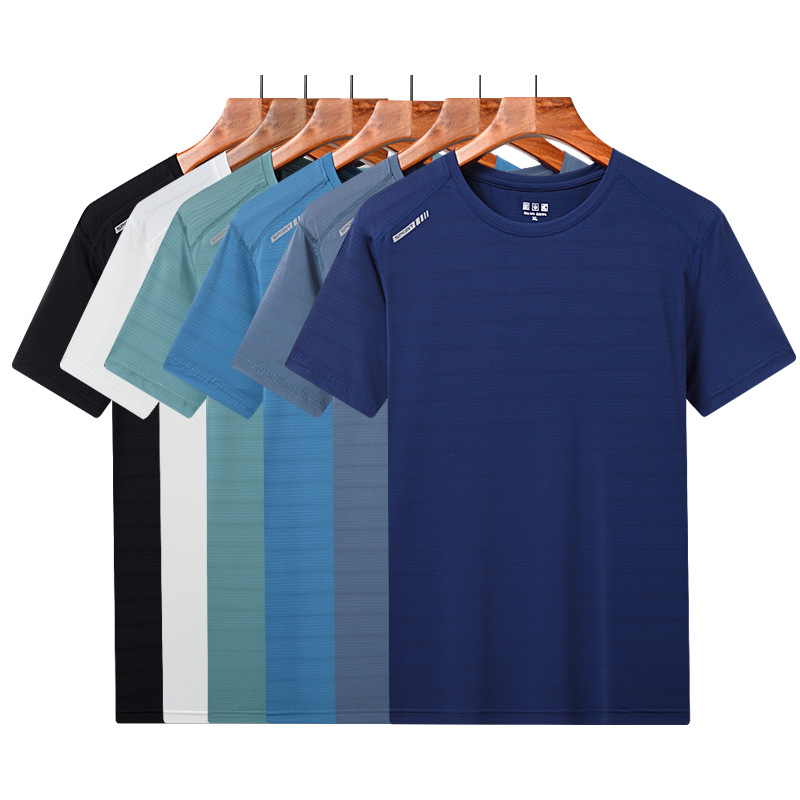 Ice silk quick-drying t-shirt sports high-elastic fashion clothes summer ice feeling couple short-sl