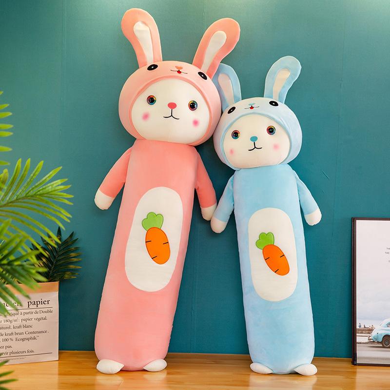 New big-eyed radish rabbit long strip pillow bunny plush toy children's doll doll doll girl heart