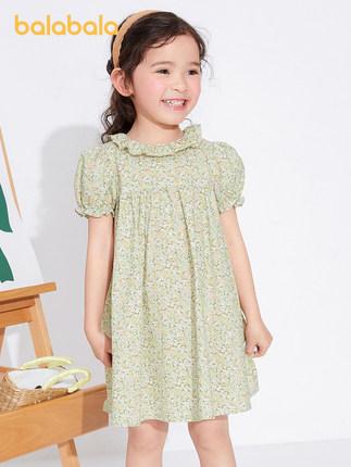 Balabala Đầm váy trẻ em quần áo trẻ em cô gái váy trẻ em váy hoa nhỏ mùa hè năm 2021 nghệ thuật tran